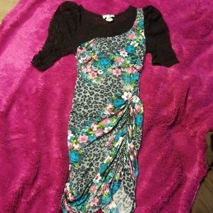 Women's lace leopard print & floral dress Small